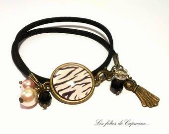 Black •ZEBRE suedine bracelet •