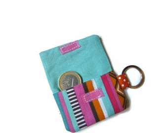 Pouch, case, cover for token Caddy/keychains graphic, blue, pink, orange, black, white printed fabric