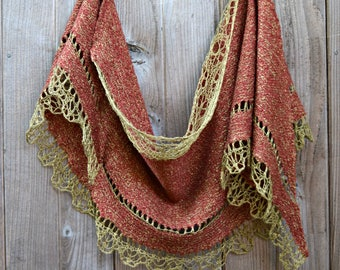 Red and Gold Silk and Wool Felted Lace Shawl