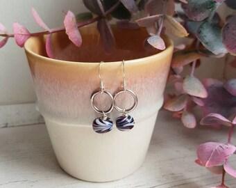 Purple Hoop Earrings - Silver Beaded Earrings - Feather Bead Earrings - Delicate Silver Hoops - Gifts for Her - Valentines Gift - Earrings