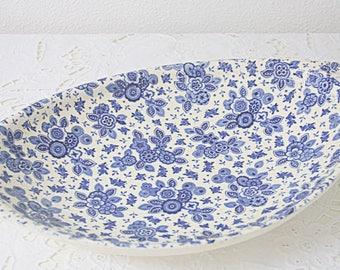 Vintage Blue Chintz Bread Dish, Société Ceramique 'Beatrix', Maastricht Holland