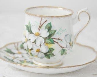 Vintage Royal Albert Bone China 'White Dogwood' Lady Size Cup and Saucer, Beautiful White Blossom Decor, England