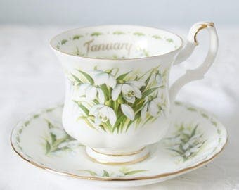 Vintage Royal Albert Bone China 'Flower of the Month' Series January 'Snowdrops' Lady Size Cup and Saucer, England