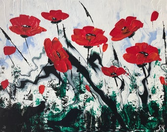 """Abstract Poppies In Acrylic """"11X14"""" Canvas Board  