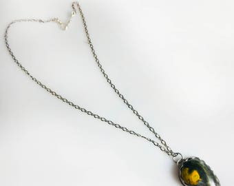 Handmade Necklace With Bumble Bee Jasper Pendant In Silver