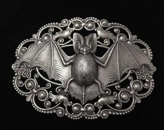 Large silver plated bat hair clip-bat hair barrette-flying fox hair clip-Victorian style bat hair clip-3' x 2'