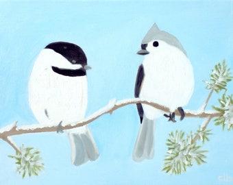Chickadee Painting, 14 x 11, Oil Painting, Original Art, Tufted Titmouse Painting, bird painting, animal painting, wildlife painting