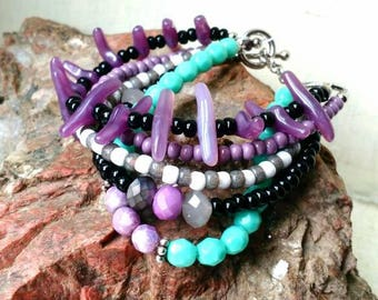Boho beaded multi strand bracelet