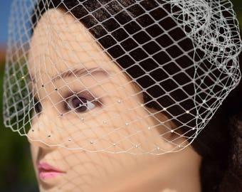 Birdcage Veil, Rhinestone veil, Vintage Style Veil, Bridal Veil, Wedding Headpiece, Bridal veil, Blusher veil, Ivory Birdcage Veil