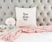 White Pillow Mockup on Tufted Gray Background / Pillow on Bed Stock Photography /Product Background / Digital Download