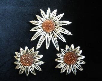 Vintage Star-Burst Brooch/Pendant & Clip Earring Set By Sarah Coventry