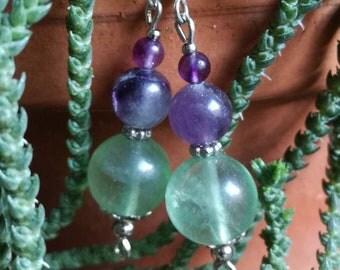 Fluorite beads dangle and drop earrings