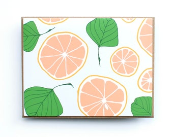 Card, All Occasion Card, Blank card, Fruit Card, Grapefruit and leaf, Hand drawn botanical card