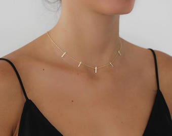 MULTI BAR NECKLACE - Gold Five Bar Necklace - Delicate Necklace - Layering Necklace -  Bar necklace - vertical gold bar necklace