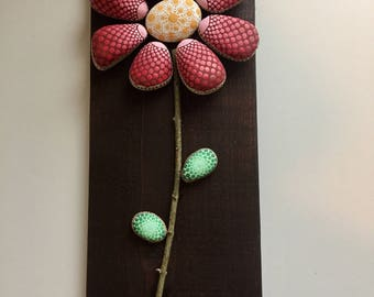 Hand Painted Red Flower Dotted Rock Wall Art