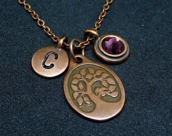 Oval Tree of Life necklace, swarovski birthstone, initial necklace, birthstone necklace, initial charm