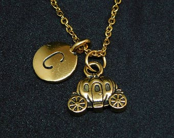 Golden carriage with Initial necklace, initial charm, fairytale jewelry, pumpkin charm