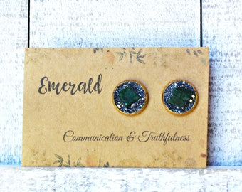 Emerald Earrings, Emerald Stud Earrings, Emerald Jewelry, May Birthstone Jewelry, Emerald Birthstone Earrings, May Birthday Gift