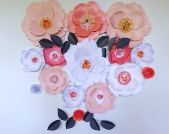 Wedding flower wedding backdrop peach paper flowers coral wall decor baby girl nursery decor giant paper flower girl bedroom decor