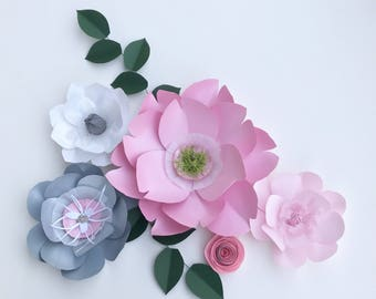 Pink paper flower wall pink sweet 16 pink decor floral decor guest bedroom gray floral craft room decor playroom wall pink art room decor