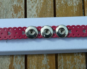chunk fuchia leather bracelet