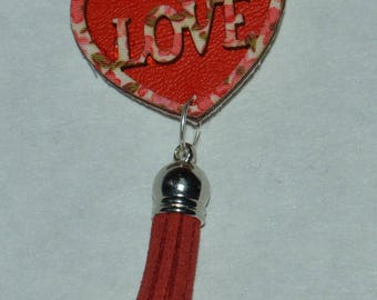 key ring or bag charm red heart jewelry