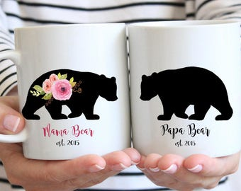 Mama and papa mug set, pregnancy reveal, parent gift, mama bear mug, papa bear mug, papa bear cup