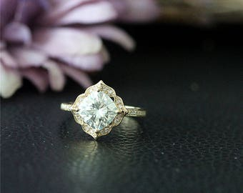Art Deco Solid Gold Engegement Ring 7mm Moissanite Wedding Ring 14K Yellow Gold Moissanite Ring Forever One Promise Ring Anniversary Ring
