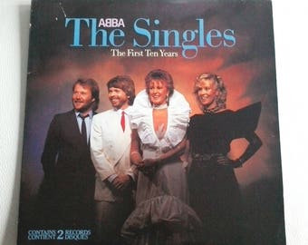 """ABBA"""" The Singles First Ten Years"""" Vinyl 2 LPs Atlantic 80036 Sleeves Gatefold From Canada"""