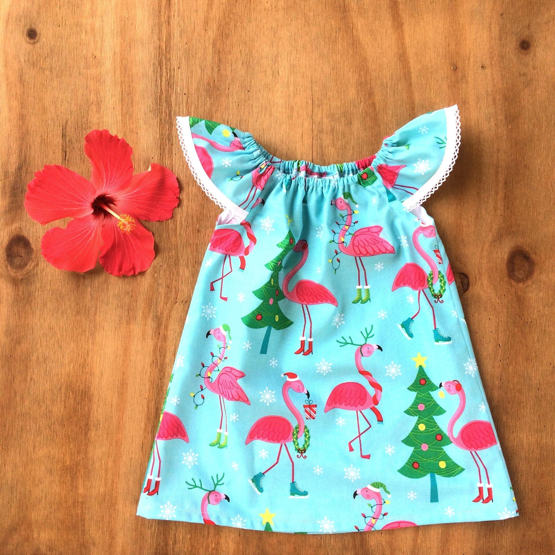 GIRLS Dress Flamingo Christmas Dress clothes handmade