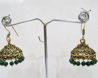 Golden Oxidized Earrings , Jhumka Jhumki Jewelry , Ethnic Drop Chandelier , Traditional Jewelry , Festival Jewelry Indian Hoops.