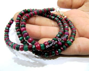 AAA Quality Natural Ruby Emerald Precious Gemstone Necklace 16 Inches long Corundum Beads , 4mm Rondelle Faceted Beads,Multi color Beads