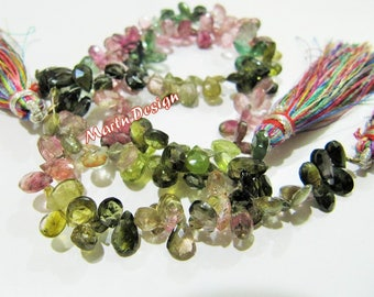 Beautiful Natural Multi Color Tourmaline Pear Shape Briolette Beads, Tourmaline Flat Drop Bead,3x5mm Approximately,Sold Per Strand 8 inches