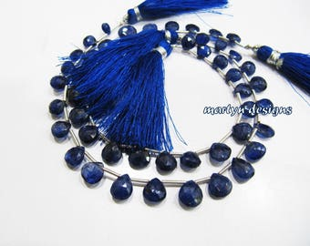 AAA Quality Natural Blue Sapphire Briolette Heart shape Beads 7mm to 9mm Size, Faceted  Blue Sapphire Precious Beads strand 8 inches long