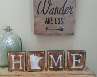 Rustic Minnesota Blocks, REVERSIBLE, Minnesota Love, Minnesota Home, Minnesota Sign, Minnesota Decor, MN Love, MN Home, 3.5x14