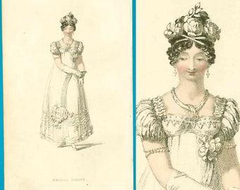 Antique Regency bride!! Rare fashion print of bridal dress 1818 Ackermann handcoloured engraving wedding