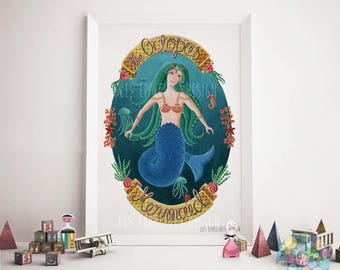Mermaid Illustration print by Les Ephelides Design A3 format