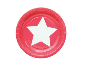 Pack of 10 Big Star Red Paper Plates, Super Hero Paper Plates, Super Hero Party Plates, Marvel Party Party Plates, Big Star Paper Plates.