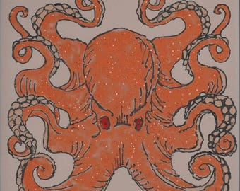 Giant Octopus #400 Hand Painted Kiln Fired Decorative Ceramic Wall Art Tile 8 x 8