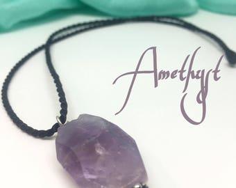 Amethyst gemstone necklace!  Healing gemstone jewelry, calming stone necklace, healing srones, handmade gemstones