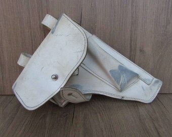 Old White Leather Holster for Makarov, Soviet Traffic Police Holster PM Makarov Pistol, Russian Police Holster Makarov, Gun Holster