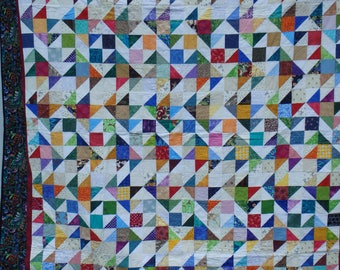 queen size quilt, scrap quilt, homemade quilt, gift for women, gift for men, patchwork quilt