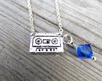 Cassette Tape Necklace, Retro Necklace, Dainty necklace, 80s Party, Tiny mixtape necklace, Audio cassette, Musicians gift, Music lover gift