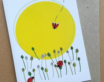 Ladybird Greeting Card, Blank Greeting Card, Birthday Card, Girls Card, Yellow Sun Card, Poppies, Red Ladybirds