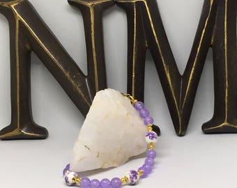 Lavender Jade Beaded Bracelet