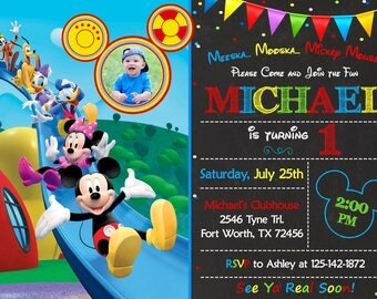 Mickey Mouse Clubhouse Invitation, Mickey Mouse Clubhouse Birthday, Mickey Mouse Clubhouse Party Mickey And Friends Invitation