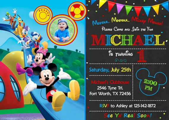 Mickey Mouse Clubhouse Invitation Mickey Mouse Clubhouse Birthday