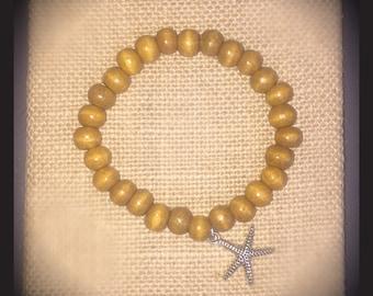 Starfish Beaded Wood Bracelet