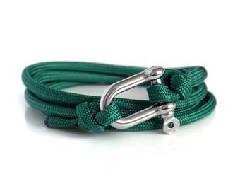 Green & Silver, Shackle Bracelet, Sailing Rope Bracelet, Mens Bracelet, Nautical Jewellery.