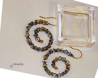 Golden Brass Wire Wrapping Earrings